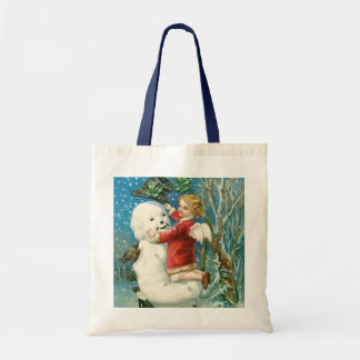 Clapsaddle: Snowman with Angel Girl Canvas Bags
