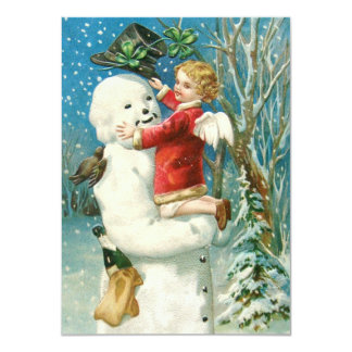 Clapsaddle: Snowman with Angel Girl Card