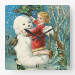 Clapsaddle: Snowman with Angel Girl Square Wall Clocks
