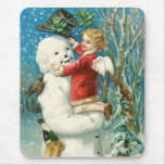 Clapsaddle: Snowman with Angel Girl Mousepads