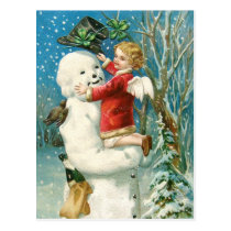 Clapsaddle: Snowman with Angel Girl Postcard