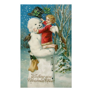 Clapsaddle: Snowman with Angel Girl Poster