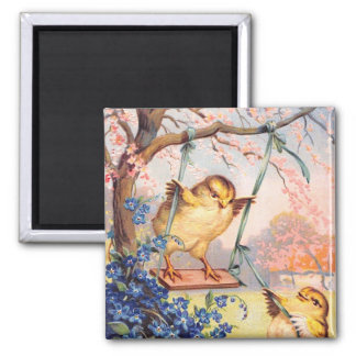 Clapsaddle: Swinging Biddy 2 Inch Square Magnet