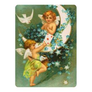 Clapsaddle: Two Cherubs on a Sickle Moon Card