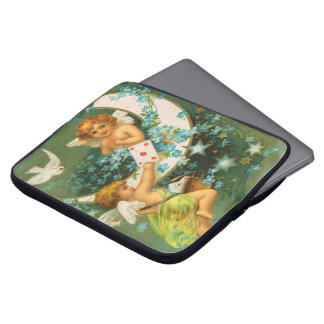 Clapsaddle: Two Cherubs on a Sickle Moon Laptop Sleeve