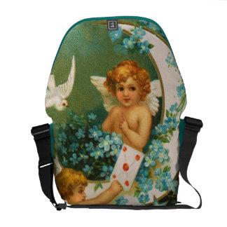 Clapsaddle: Two Cherubs on a Sickle Moon Messenger Bag