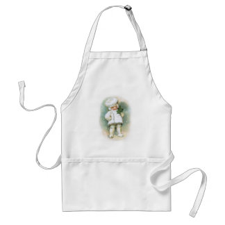 Clapsaddle: Winter Boy with Fir Twig Adult Apron