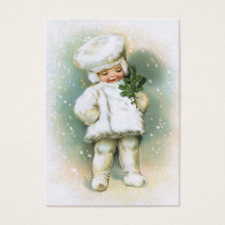 Clapsaddle: Winter Boy with Fir Twig Business Card