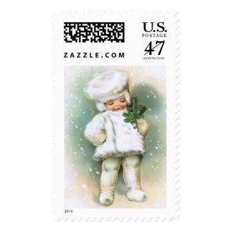 Clapsaddle: Winter Boy with Fir Twig Postage