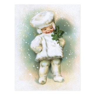 Clapsaddle: Winter Boy with Fir Twig Postcard