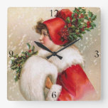 Clapsaddle: Winter Girl with Holly Hat Clocks