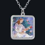 """Clara and the Nutcracker Silver Plated Necklace<br><div class=""""desc"""">Clara and the Nutcracker is taken from a watercolor by North Carolina artist Kathleen Gwiinett. She has attended many Christmas time Nutcracker ballets and has illustrated many dance scenes from the story.</div>"""