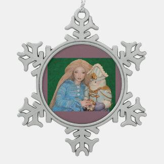 Clara and the Nutcracker Snowflake Pewter Christmas Ornament