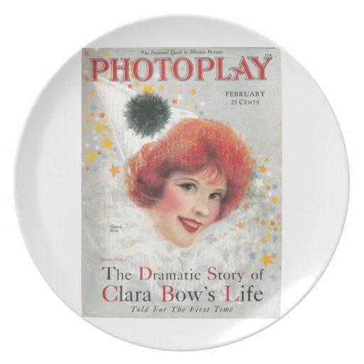 Clara Bow 1928 vintage portrait Party Plate