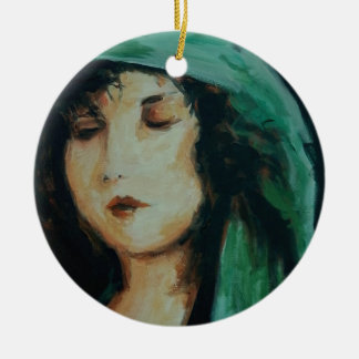 Clara Bow Double-Sided Ceramic Round Christmas Ornament