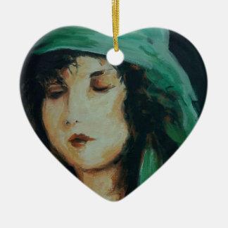Clara Bow Double-Sided Heart Ceramic Christmas Ornament