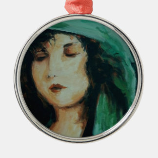 Clara Bow Round Metal Christmas Ornament