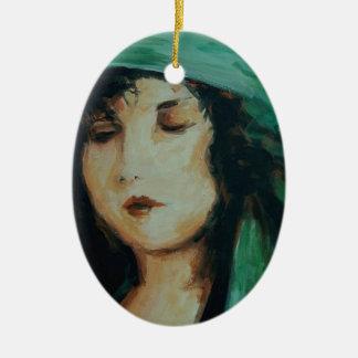 Clara Bow Double-Sided Oval Ceramic Christmas Ornament
