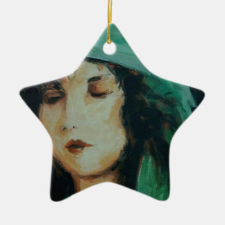 Clara Bow Double-Sided Star Ceramic Christmas Ornament