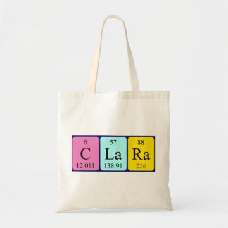 Clara periodic table name tote bag