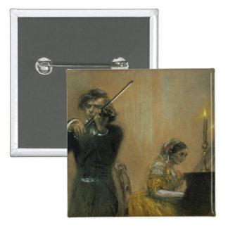 Clara Schumann (1819-96) and a Violinist, 1854 (pa Button