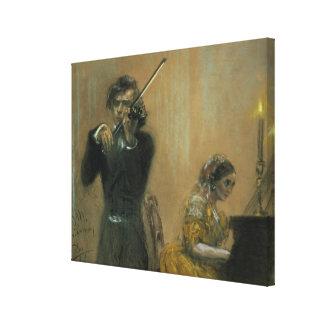 Clara Schumann (1819-96) and a Violinist, 1854 (pa Canvas Print
