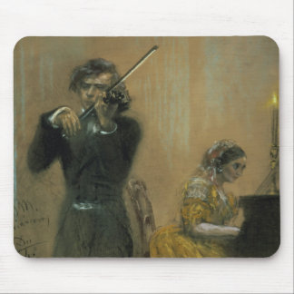Clara Schumann (1819-96) and a Violinist, 1854 (pa Mouse Pad