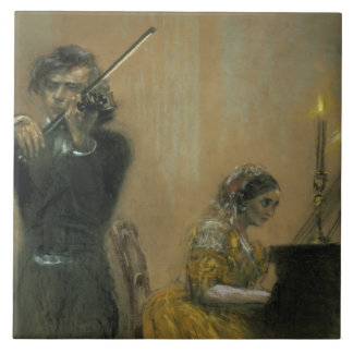 Clara Schumann (1819-96) y un violinista, 1854 (PA Azulejo Cuadrado Grande
