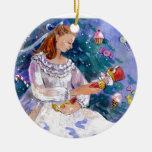 Clara y el cascanueces adorno navideño redondo de cerámica