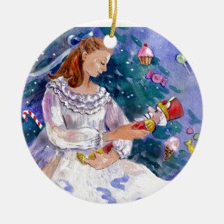 Clara y el cascanueces adorno redondo de cerámica