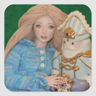 Clara y el cascanueces pegatina cuadrada