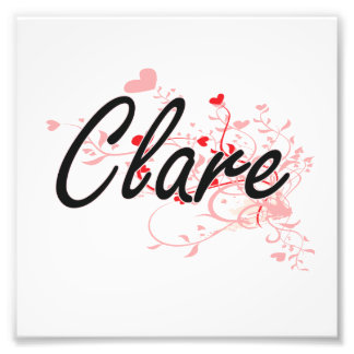 Clare Artistic Name Design with Hearts Photo Print