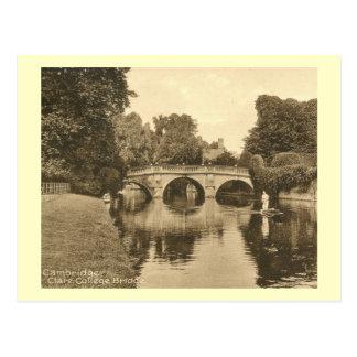 Clare College Bridge, Cambridge England Vintage Postcard
