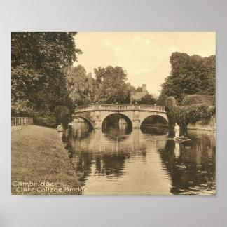 Clare College Bridge, Cambridge England Vintage Poster