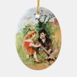 Clare con el muchacho y la muleta ornamentos de navidad