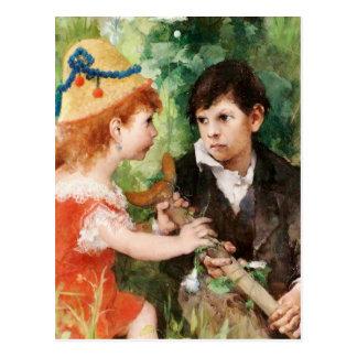 Clare con el muchacho y la muleta postales