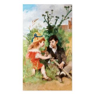 Clare con el muchacho y la muleta tarjetas de visita