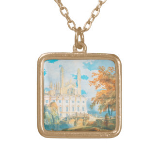 Clare Hall and King's College Chapel, Cambridge, Gold Plated Necklace