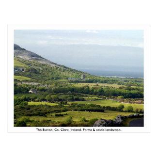 Clare, Ireland, farmhouses & fields in Kilfenora Postcard
