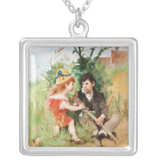 Clare with Boy and Crutch Silver Plated Necklace