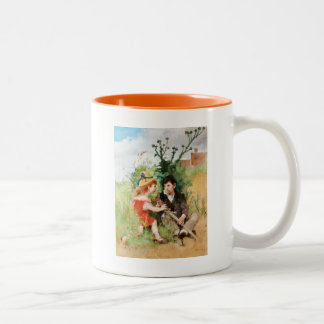 Clare with Boy and Crutch Two-Tone Coffee Mug