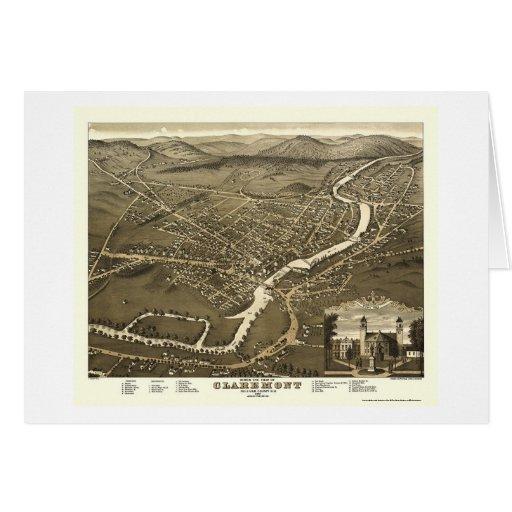 Claremont, mapa panorámico del NH - 1877 Tarjeta De Felicitación
