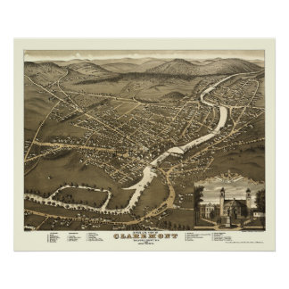 Claremont, NH Panoramic Map - 1877 Poster