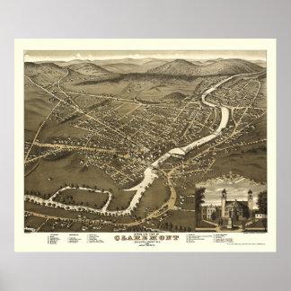 Claremont, NH Panoramic Map - 1877 Poster