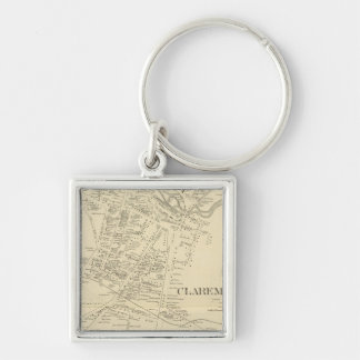 Claremont PO Silver-Colored Square Keychain