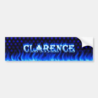 Clarence blue fire and flames bumper sticker desig car bumper sticker