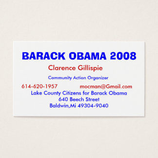 Clarence Gillispie, Community Action Organizer,... Business Card