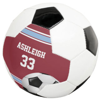 Claret and Blue Stripes Jersey Soccer Ball