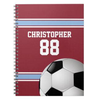 Claret and Blue Stripes Jersey Soccer Ball Spiral Notebook