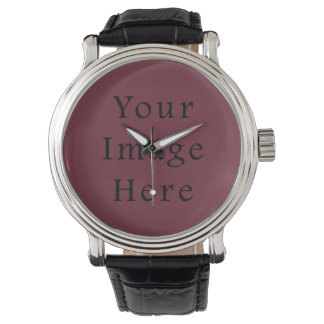 Claret Maroon Red Color Trend Blank Template Wristwatch